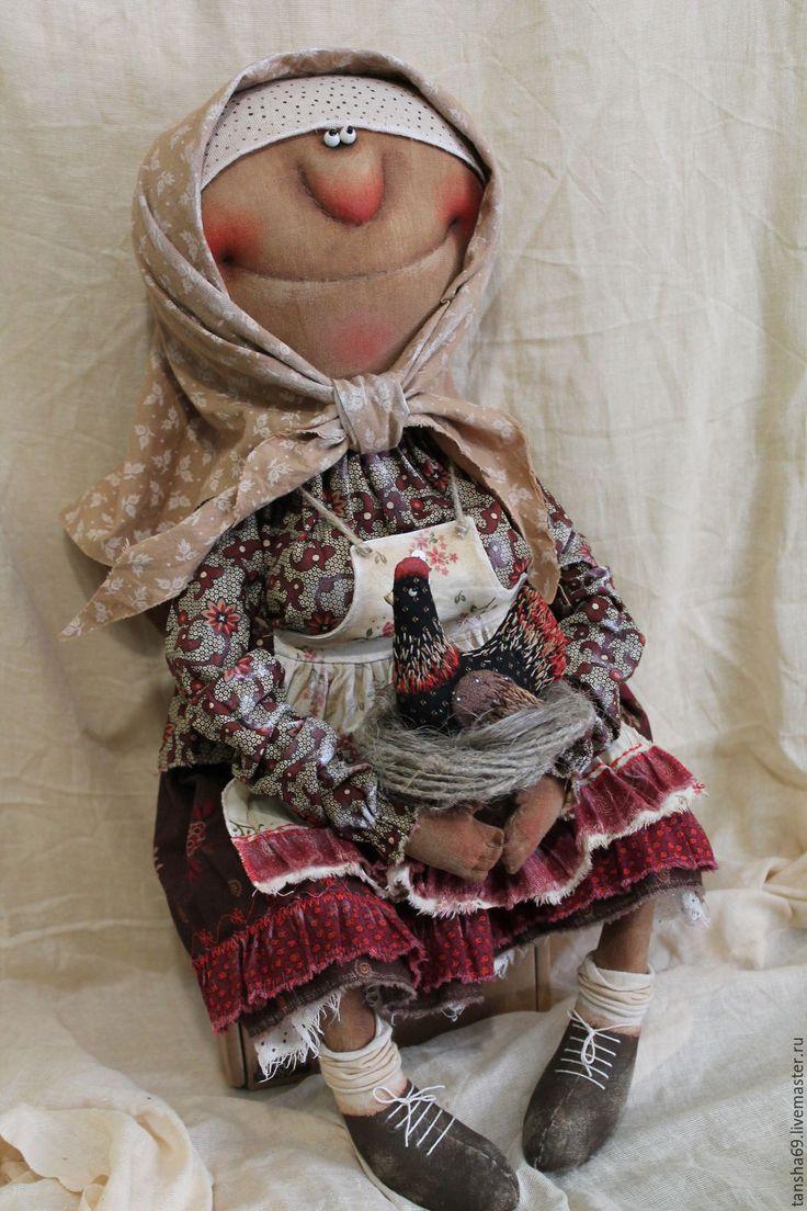 Купить Бабуля с курочкой - комбинированный, текстильная кукла, ароматизированная кукла, интерьерная кукла, курочка