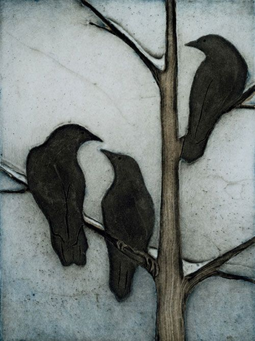 """Snow and Corvids"" collagraph print by Kathleen Buchanan. Framed size 17"" x 14"""