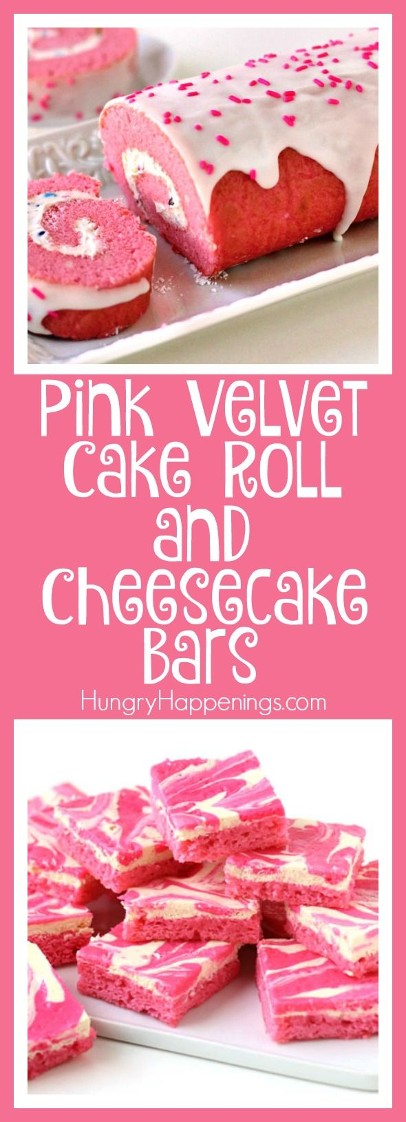 If pink is your color, you are going to fall in love with all these pink desserts including a Pink Velvet Cake Roll and Pink Velvet Cheesecake Bars. These pink desserts will sweeten up your Valentine's Day, brighten up a baby shower, or liven up a pot luck.