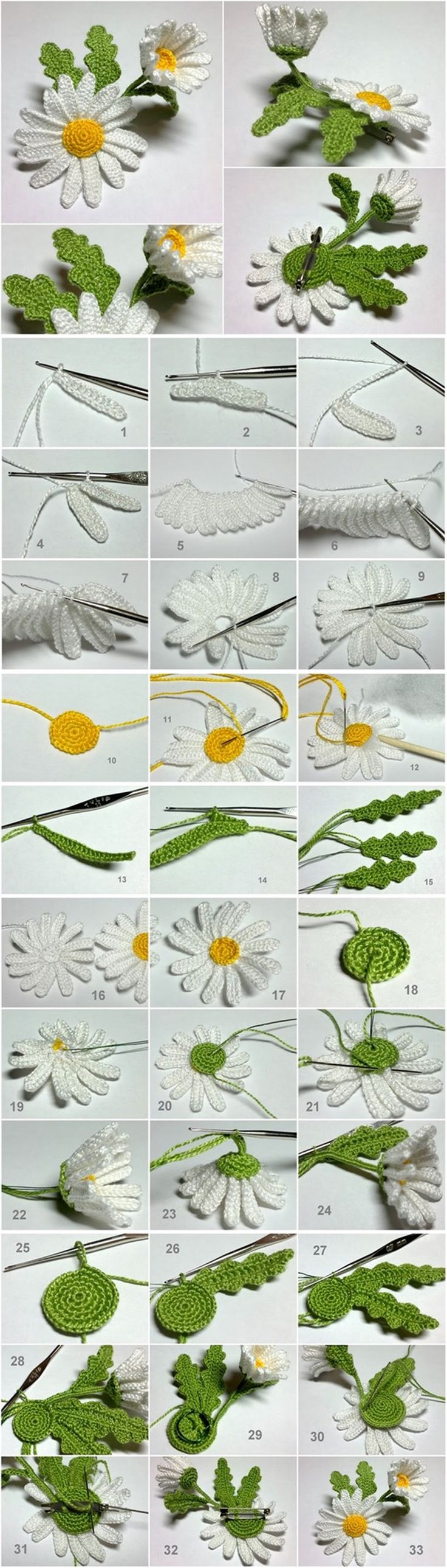 Crochet 3D Daisy Flower #diy #crochetflower #craft