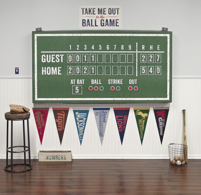 38 best baseball decor images on pinterest baseball for Baseball scoreboard wall mural