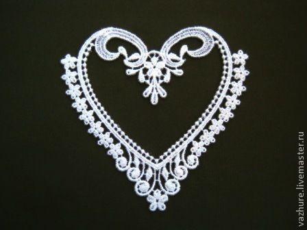 Купить Кружево элемент №23. - белый, кружево, кружево для отделки, кружевное украшение, сердце