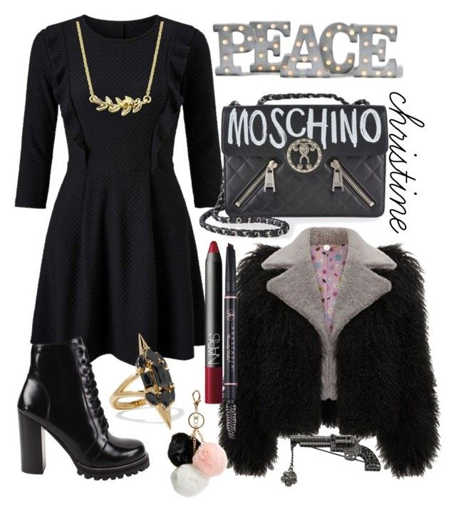 """christine"" by ellahbug on Polyvore featuring Miss Selfridge, Jeffrey Campbell, Moschino, Noir Jewelry, Chanel, GUESS, NARS Cosmetics and Grandin Road"