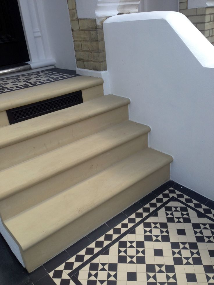 bull nose york stone steps daisy grate victorian mosaic tile path wrought iron rail and gate clapham london rendered painted garden wall (3)