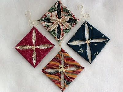 311 best folded fabric ornaments images on Pinterest  Christmas