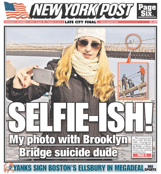 Selfie in front of a suicide attempt lands on N.Y. Post cover
