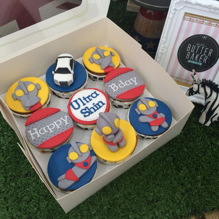 Ultraman birthday cupcakes