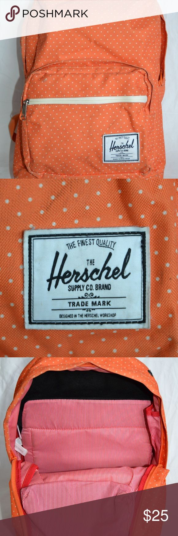 Herschel Orange & White Polka Dot Backpack Herschel orange backpack with white polka dots. Decent used condition. Some discoloration, wear and tear (see photos). Great storage space including interior phone and laptop sleeve pockets. Small pocket on top with velvet interior for valuables. And more! Herschel Supply Company Bags Backpacks