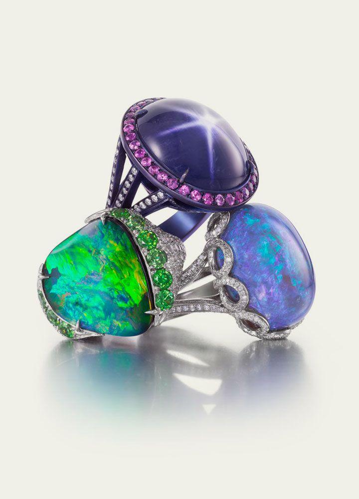 Boulder Opal, Black Opal & Purple Star Sapphire Rings #OpalRings #OpalJewelry