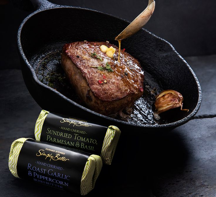 Add a slice of Simply Better Hand Churned Roast Garlic & Peppercorn Irish Butter to your Simply Better 14 Day Matured Irish Angus steak to give it that finishing touch.