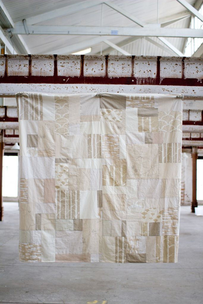 Neutral colors. Would like to make a white/off-white patchwork duvet cover like this.