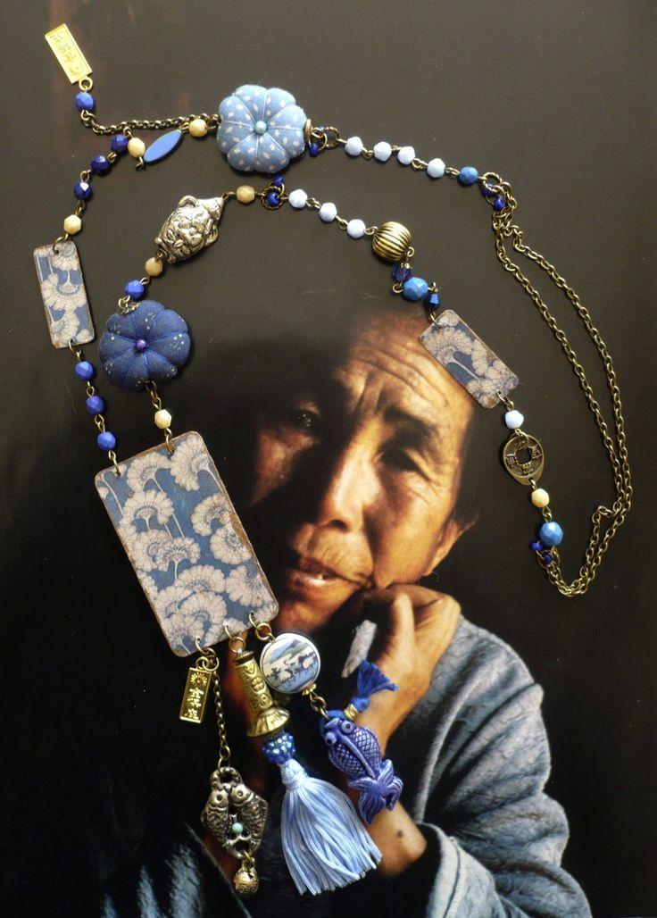 COLLIER BOHEME VINTAGE ASIATIQUE BLEU DE CHINE ✤ PERLES CHINOISES VINTAGES - : Collier par fujigirls