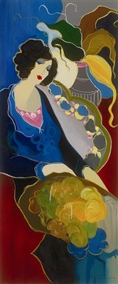 Tarkay, Itzchak    Karly  2001, Serigraph in color on canvas with hand embellishment.