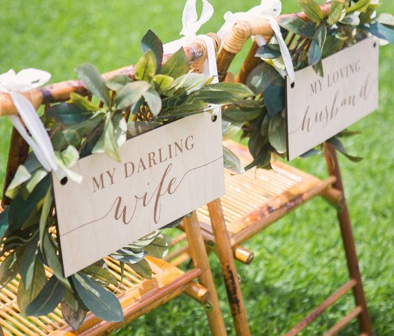 Engraved Wooden Wedding Chair Signs for Bride & by ZCreateDesign