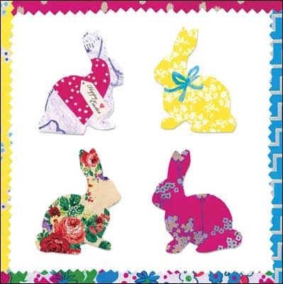 Bunny #Easter card by @Kirstie Allsopp Pinterest - collage style, finished with glitter varnish.