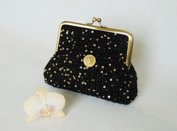 Black clutch sequins clutch formal clutch bridesmaid by styledonna