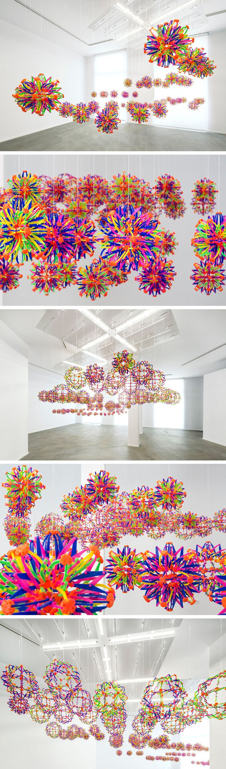 Bits and Pieces: An Expandable Kinetic Toy Sphere Installation by Nils Volker
