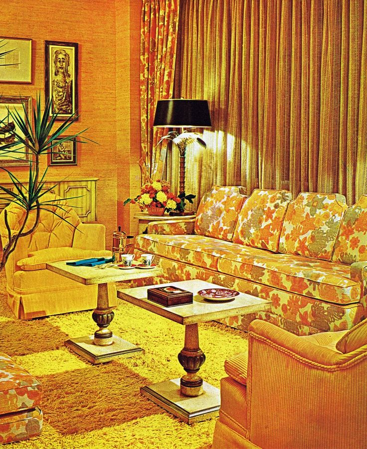 "20 Chic Interior Designs With Yellow Curtains: 1971 ""sunny"" Living Room Design."