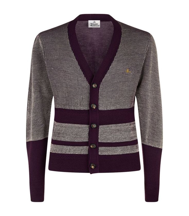 VIVIENNE WESTWOOD Raw Contrast Stripe Cardigan. #viviennewestwood #cloth #