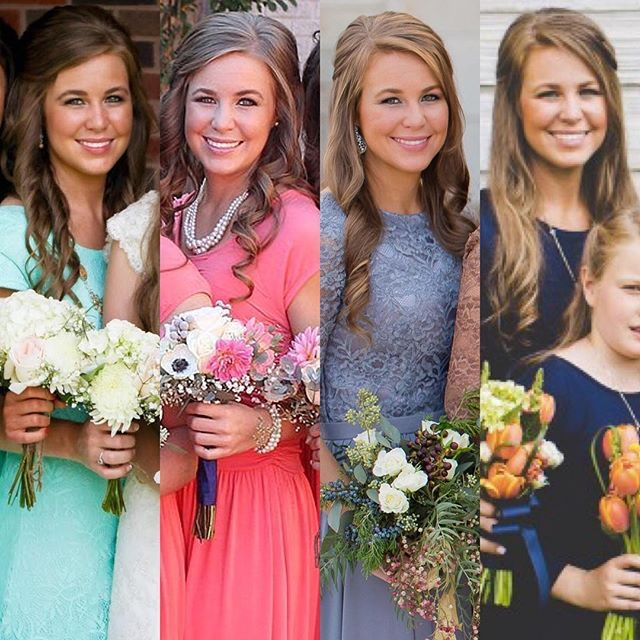 Jana at all 4 of her sisters' weddings! Jill, June 14' | Jessa, Nov 14' | Jinger, Nov 16' | Joy, May 17' ❤️❤️❤️ #janaduggar