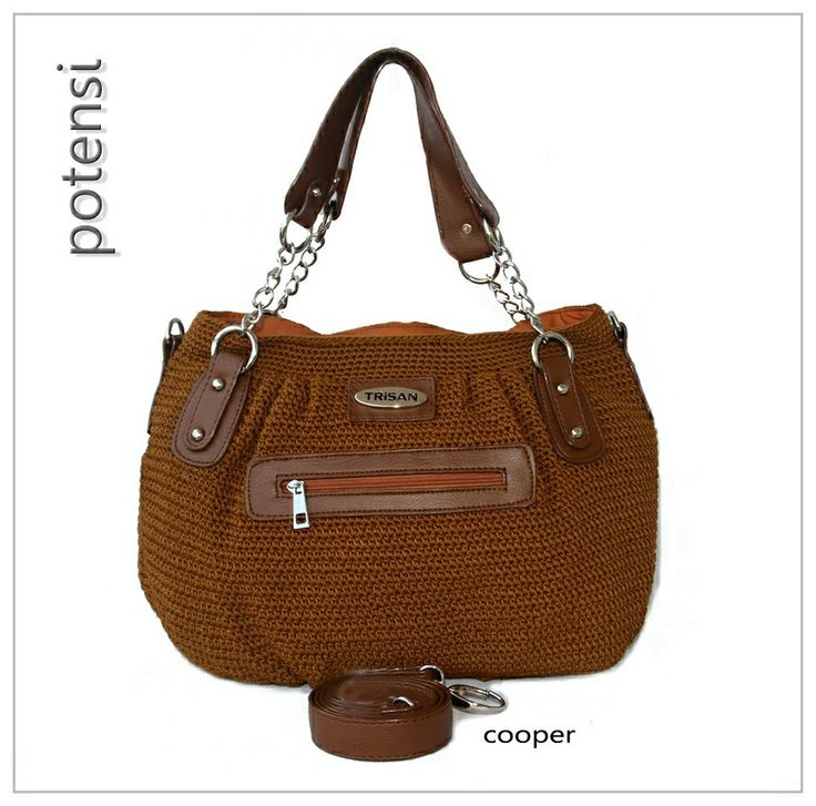 POTENSI crochet bag by TRisAN color : cooper materials : nylon crochet mix syntetic leather size (cm) : 40 x 28 x 10 price (IDR) : 315.000