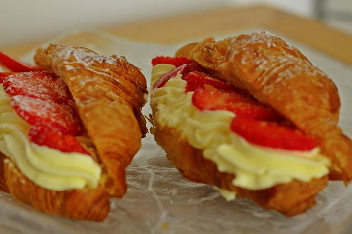 Mouthwatering Lemonis bakery croissants with creme patissiere and fresh strawberries. Can you really say no to that?