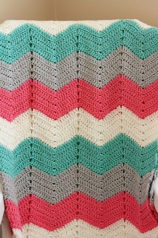 Chevron Crochet Blanket (Gray, White, Peach, Teal)