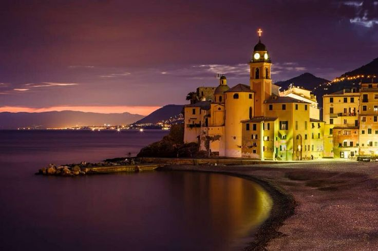 Sunset on Camogli, Italian Riviera.  This lovely village is just 1,5 hour drive from La Meridiana in Garlenda.