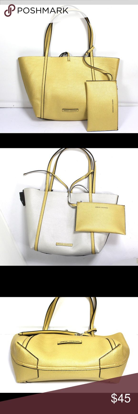 Armani Exchange Tote Beautiful Armani Exchange reversible golden and silver tote. 100% polyurethane/ Faux Leather...New Armani Exchange Bags Totes