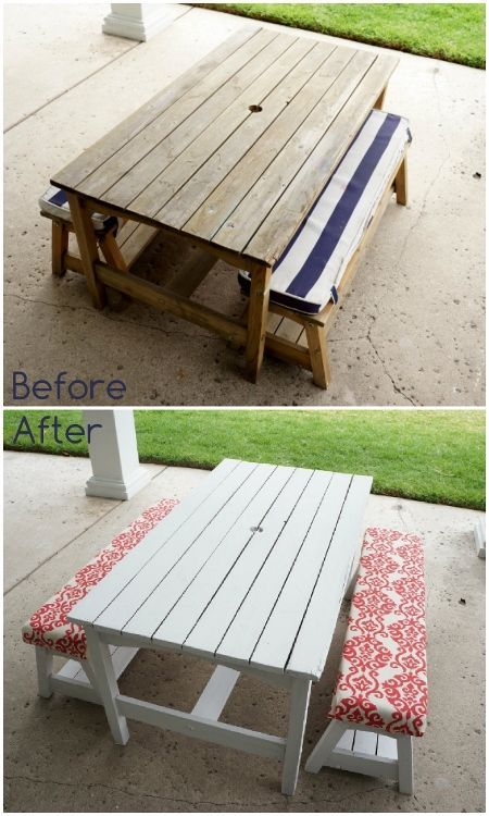 Kid's Picnic Table Makeover - bring new life to an old piece with fresh paint and upholstery.