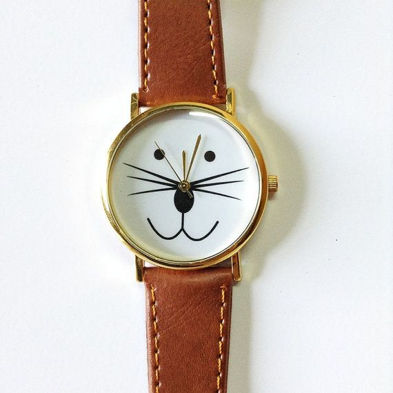 Cat Watch Kitty Watch Vintage Style Leather Watch  by FreeForme, $10.00