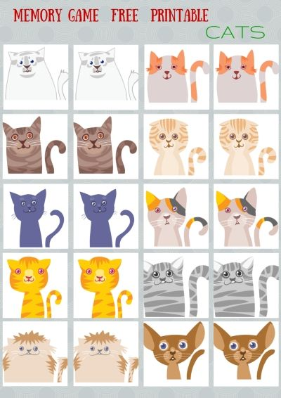 Animals - #Memory #game free printables                                                                                                                                                                                 More