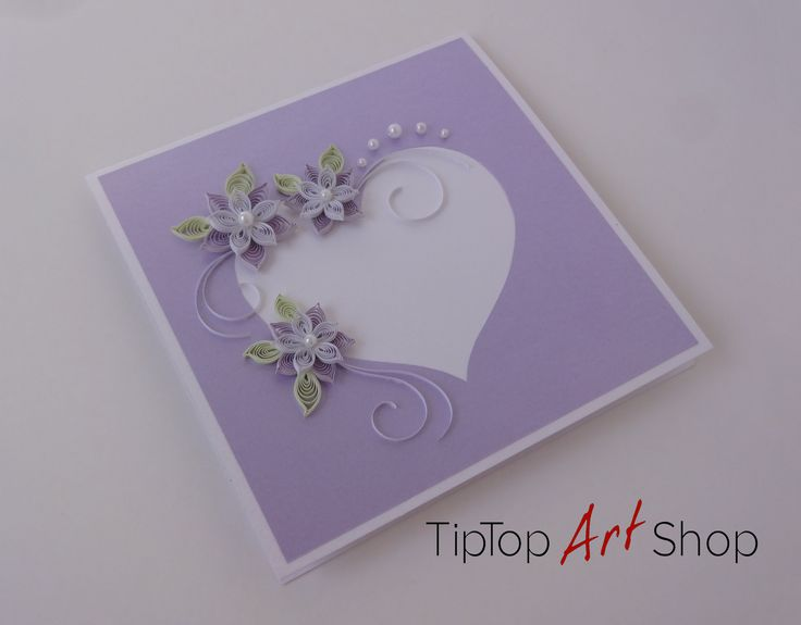 Wedding Quilling Card with Handmade Paper Flowers in White and Lilac by TipTopArtShop
