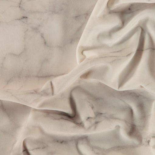 Upholstery velvet light grey marble look - Marble fabric