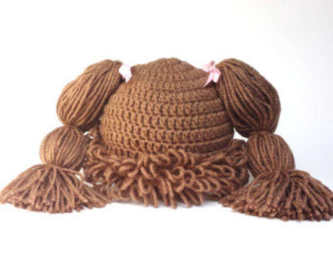 Col parche sombrero, peluca de parches de col, crochet el remiendo de la col, marrón claro