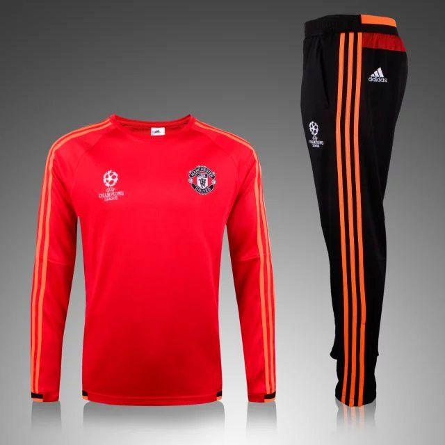 Ensemble officiel Nouveau Champions league Survetement de foot Manchester United Rouge 2015 2016