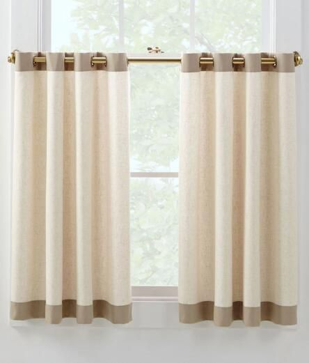 Oxford Banded Linen Grommet Cafe Curtains Pair