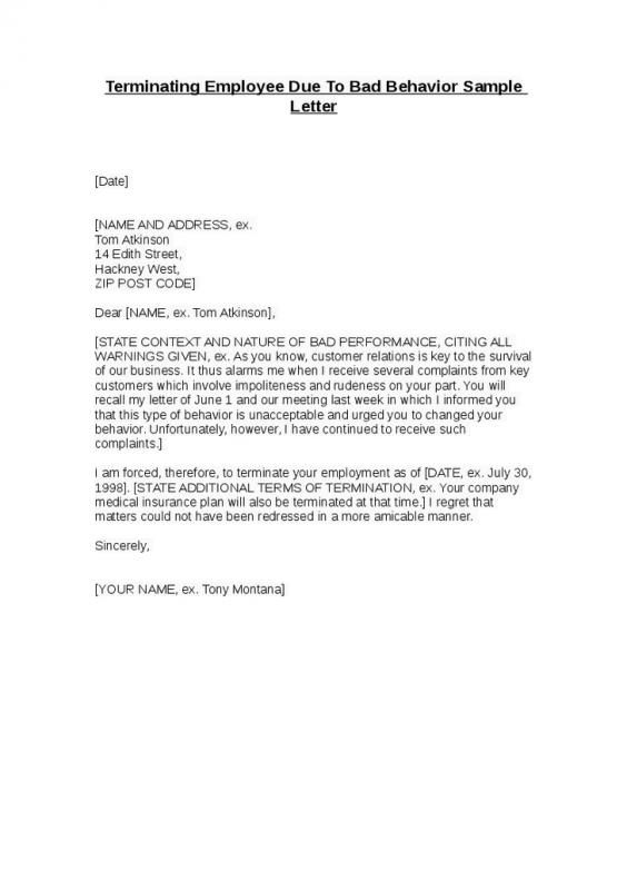 Sample Termination Letter For Poor Performance