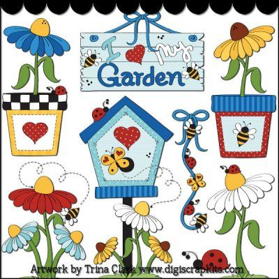 Love My Garden 1 Clip Art - Original Artwork by Trina Clark