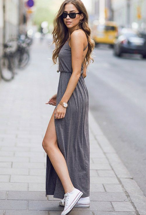 simple long grey summer dress for juniors 2015