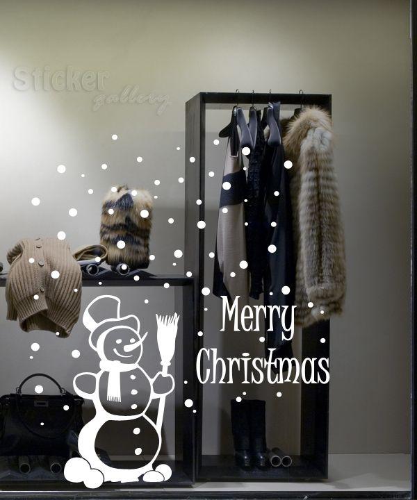 Χριστουγεννιάτικη διακόσμηση βιτρίνας - Χιονάνθρωπος και χιόνια. Snowman vinyl decal for shop windows...