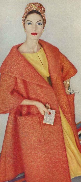 Vogue, 1958. Orange coat and yellow dress.1950's fashion