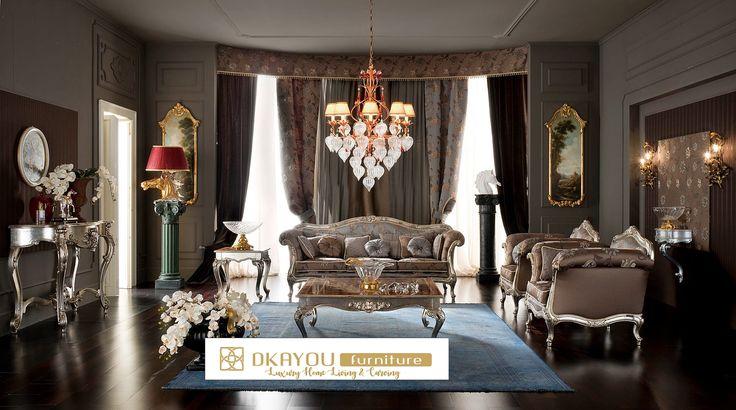 Set Kursi Sofa Ruang Tamu Mewah Klasik Veneer Sofa Mewah Terbaru