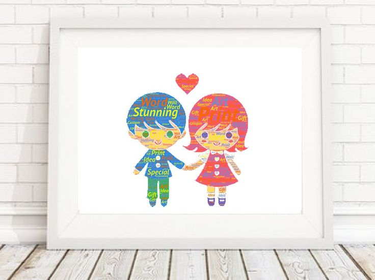 PERSONALISED Kids couple Word Art Wall Print Gift Idea