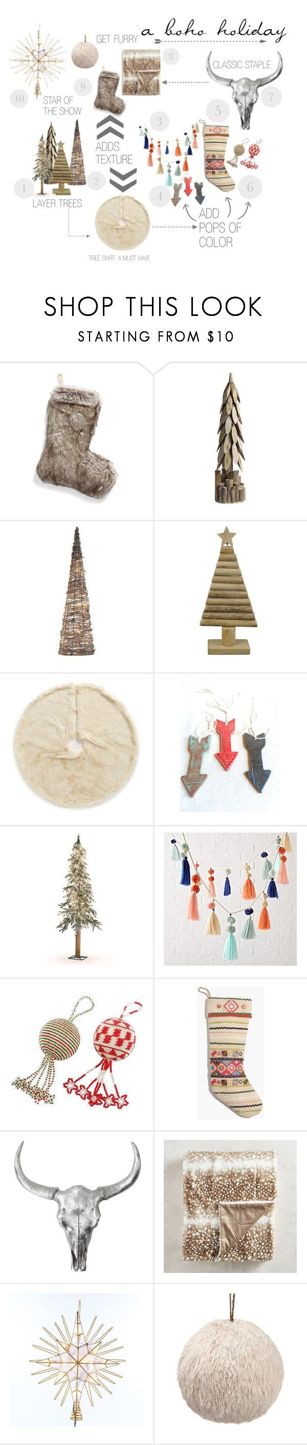BOHO HOLIDAY DECOR by kenz1029 on Polyvore featuring interior, interiors, interior design, home, home decor, interior decorating, Pier 1 Imports, Nordstrom, Madewell and G.T. Direct