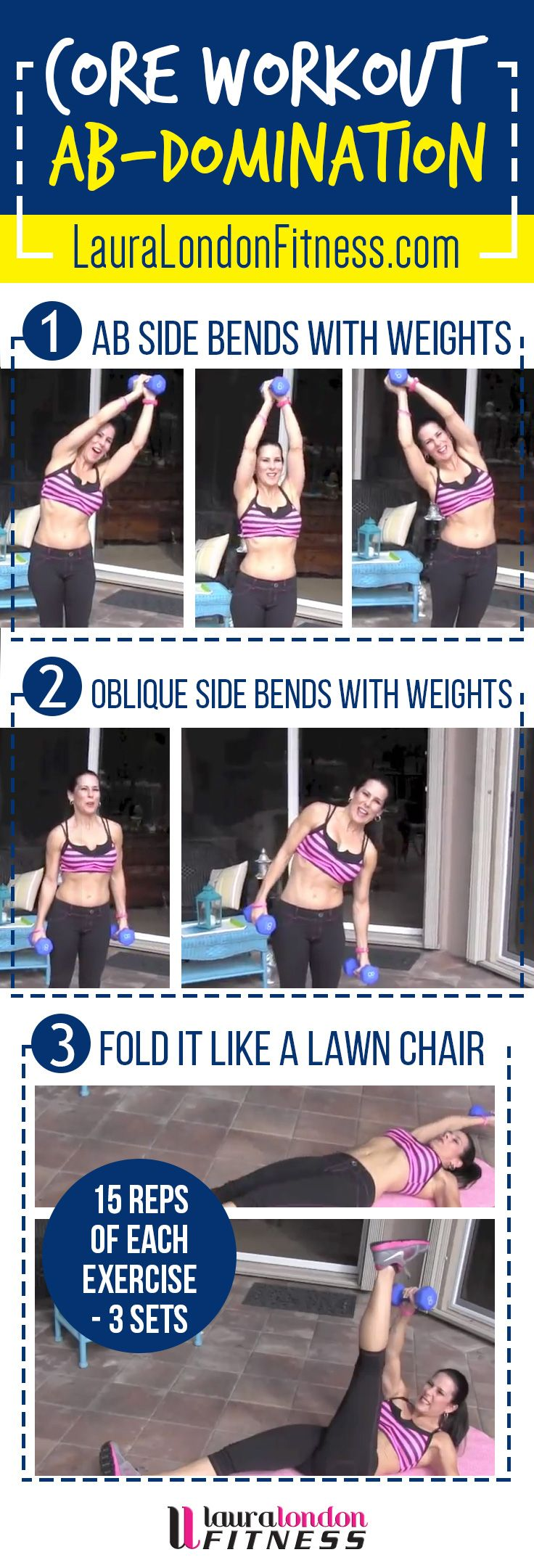 AB DOMINATION with Laura London. 3 of my favorite core building moves to whittle your waist.  #fitness #homeworkouts #lauralondonfitness