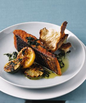 Grilled Salmon with Basil and Mint