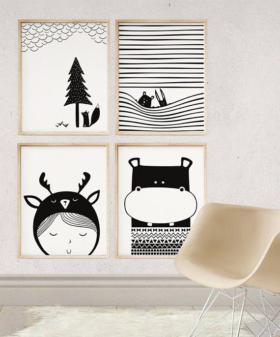 Nilpferd-Kindergarten-Tier-Kunst, Animal-Print für Kinderzimmer, moderne Kinderzimmer Kunst, Azteken Wand-Dekor, Baby Hippo Druck, Geschlecht Neutral Baby-Geschenk, 11 x 14