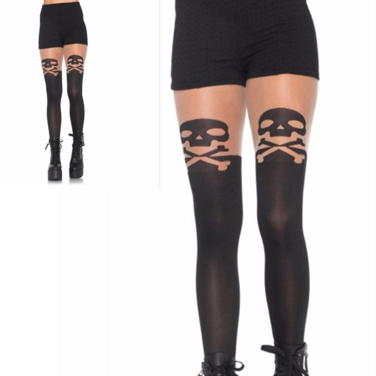 Sexy Skull Striped Pantyhose  Specifications  One Size (Fits Most)-4 Different Styles Style 9981 Color Black As Shown Condition Brand New In Packaging