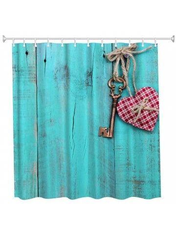 Heart Key Polyester Shower Curtain Bathroom Curtain High Definition